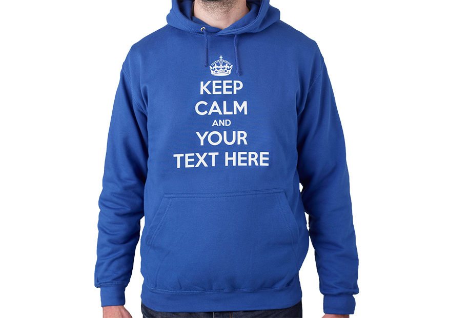 Keep Calm and Your Text Unisex Hooded Sweatshirt