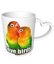 Love Birds Heart Mug