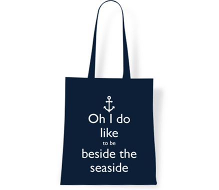I do Like to be beside the Seaside Navy Tote Bag