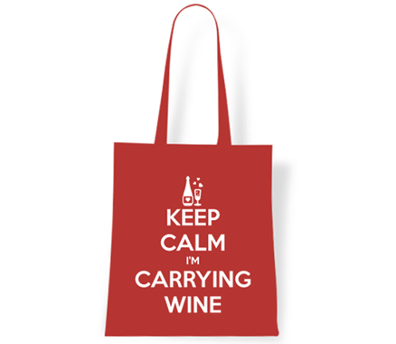 Keep Calm I'm Carrying Wine Tote Bag
